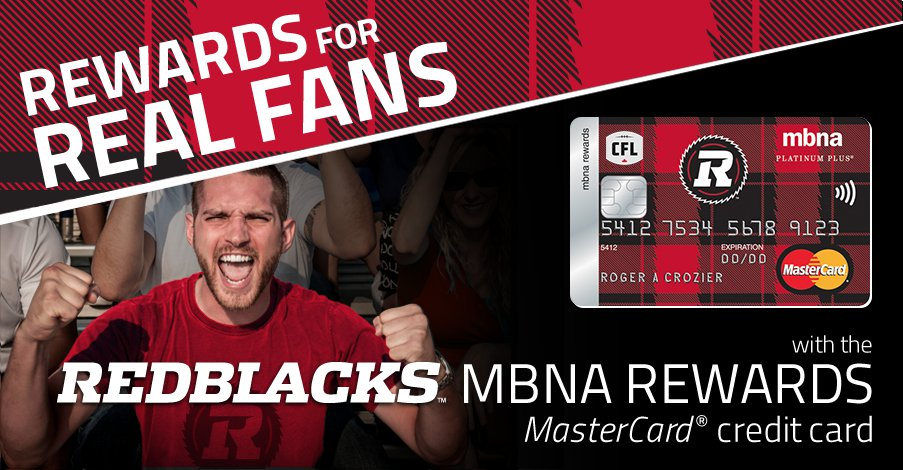 RedBlacks MBNA Rewards MasterCard credit card
